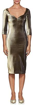 Area Women's Lamé Fitted Dress - Gold