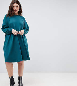 Asos Cotton Smock Dress With Elastic Cuff Detail