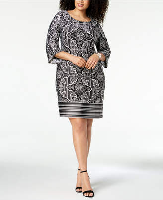NY Collection Plus & Petite Plus Size Printed Boat-Neck Shift Dress