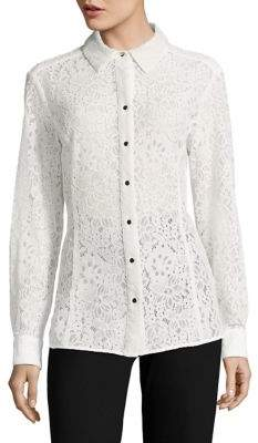 Tommy Hilfiger Point Collar Lace Button-Down Shirt