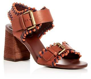 See by Chloe Women's Leather Whipstitch High Block Heel Sandals