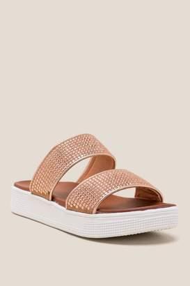 Mia Shey Double Strap Platform Sandal - Rose/Gold