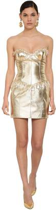 Moschino CRYSTAL DROP LAMINATED LEATHER DRESS