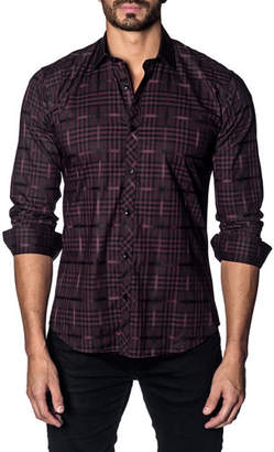 Jared Lang Men's Modern-Fit Woven Check Long-Sleeve Shirt