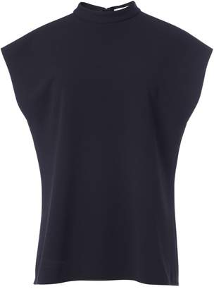 Tibi Structured Crepe Mock Neck Sleeveless Top