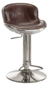ACME Furniture Brancaster Adjustable Swivel Stool, Vintage Brown Leather & Aluminum