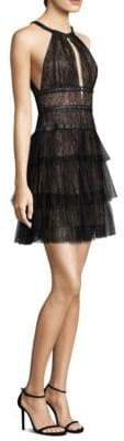 BCBGMAXAZRIA Lace and Tulle Mini Dress