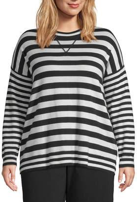 Liz Claiborne Weekend Striped Pullover Sweater - Plus