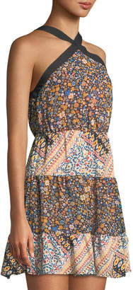 BCBGeneration 70s Floral Cross-Front Halter Dress
