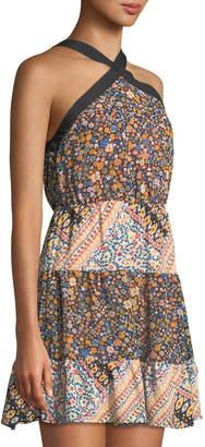 BCBGeneration 70s Floral Cross-Front Halter Dress