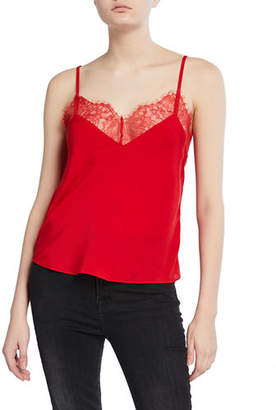7 For All Mankind V-Neck Camisole with Scallop Lace Trim