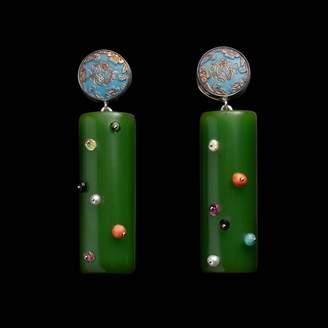 Lulu Frost Fine Vintage Medium Post Drop Earring - Button Bakelite