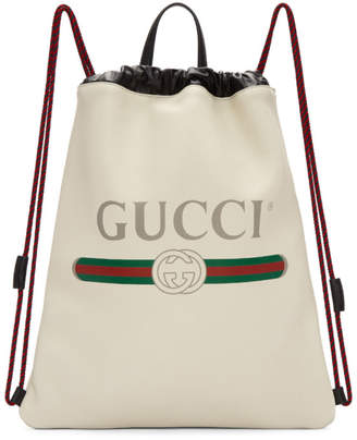 Gucci Off-White Leather Logo Backpack