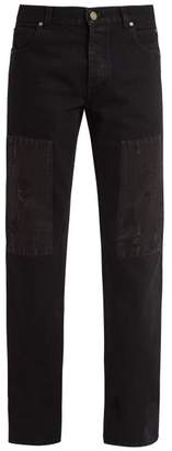 Calvin Klein 205w39nyc - Distressed Patch Straight Leg Denim Jeans - Mens - Black