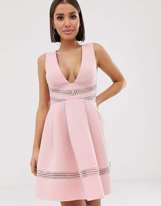 Asos Design DESIGN lace insert ruffle back mini prom dress