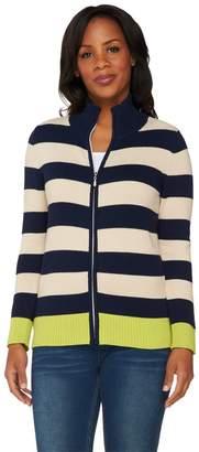 Susan Graver Weekend Cotton Acrylic Zip Front Sweater