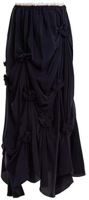 J.W.Anderson Florette Embellished Ruched Silk Crepe Skirt - Womens - Navy