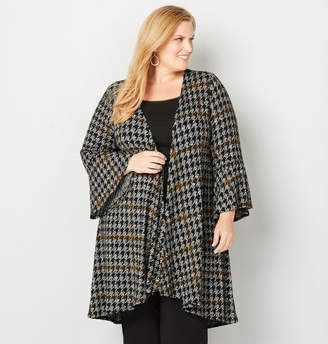 Avenue Houndstooth Bell Sleeve Cardigan