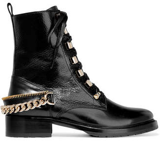 Lanvin - Embellished Glossed Smooth And Textured-leather Ankle Boots - Black $995 thestylecure.com