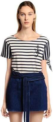 J.W.Anderson Logo Detail Striped Jersey T-Shirt