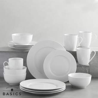 Pottery Barn Teen Design Crew Basics Set, 16pc Place Setting, White Porcelain