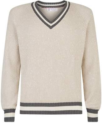 Brunello Cucinelli Stripe Trim V-Neck Sweater