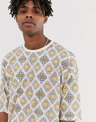 Asos Design DESIGN oversized t-shirt with all over tile print in linen mix