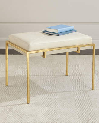 John-Richard Collection John Richard Collection Metal and Leather Ottoman, Gold