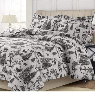 Tribeca Living Mountain Toile Cotton Flannel Printed Oversized King Duvet Set Bedding