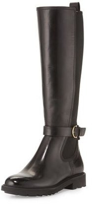Salvatore Ferragamo Furseo Leather Knee Boot, Nero/Crust $750 thestylecure.com