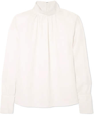 Marc Jacobs Silk-crepe Turtleneck Blouse - White