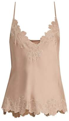 Carine Gilson Lace Trimmed Silk Satin Cami Top - Womens - Nude
