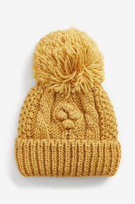 Next Girls Ochre Cable Beanie Hat (Younger) - Yellow