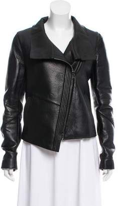 Veronica Beard Stand-Collar Leather Jacket