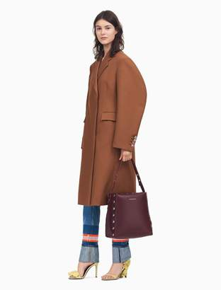 Calvin Klein double breasted coat with curved sleeves in heavy twill