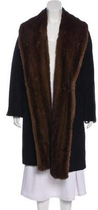 Max Mara Fur-Trimmed Virgin Wool Coat