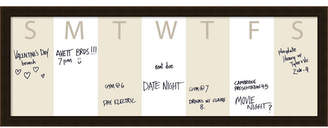 BEIGE Amanti Art Week Calendar Horizontal 38x14 Framed Glass Dry Erase Board