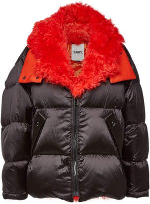 Yves Salomon Army by Quilted Down Jacket with Lambskin and Shearling