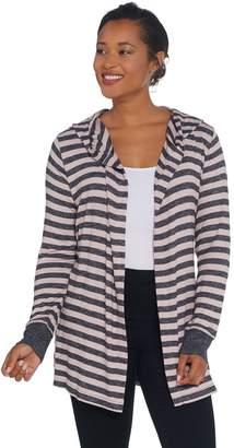 Anybody AnyBody Loungewear Brushed Hacci Striped Hooded Cardigan