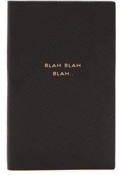 Smythson Blah Blah Blah Panama Pocket Notebook - Black
