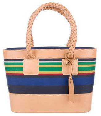 Lauren Ralph Lauren Leather-Trimmed Striped Tote