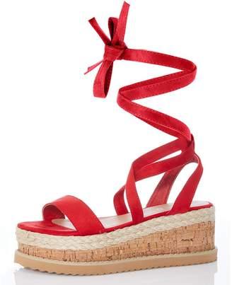 Quiz Red Flatform Sandals