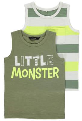 George Little Monster Striped Vest Tops 2 Pack