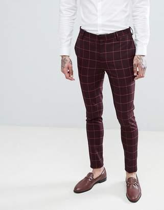 Asos DESIGN Wedding Super Skinny Suit Pants In Wine And Orange Grid Check