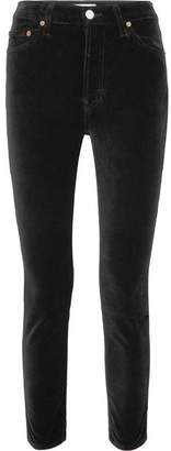RE/DONE High Rise Ankle Crop Stretch-velvet Skinny Pants - Black