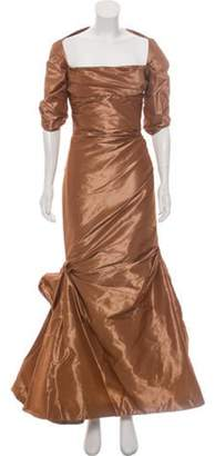 Reem Acra Silk Ruched Gown Nude Silk Ruched Gown