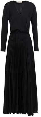 Vanessa Bruno Wrap-effect Pleated Charmeuse Maxi Dress