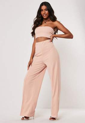 Missguided Stone Co Ord Crepe Stretch Super High Waisted Pants