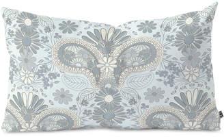 Deny Designs Jenean Morrison Paisley Damask Blue Oblong Throw Pillow