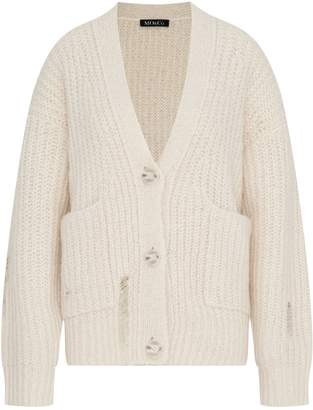 Mo&Co. Distressed Button-Front Cardigan